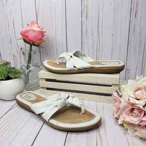 Boc White Leather Knotted Thong Sandals